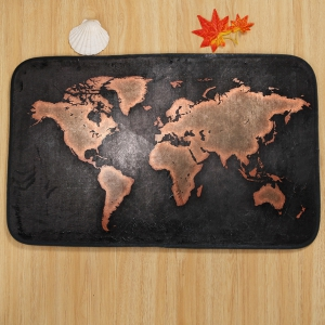 World Map Pattern 3 Pcs Bath Mat Toilet Mat -