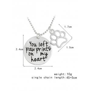 Claw Footprint Round Engraved Heart Necklace - SILVER
