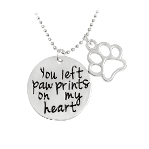 Claw Footprint Round Engraved Heart Necklace - Silver - Xl