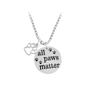 Engraved Paws Footprint Round Pendant Necklace