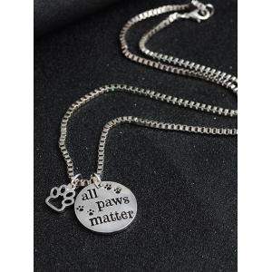 Engraved Paws Footprint Round Pendant Necklace - SILVER