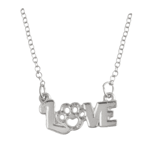 Heart Claw Footprint Love Pet Necklace - Silver - Xl