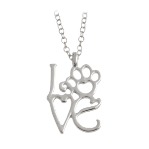 Love Pet Heart Paw Footprint Necklace - Silver