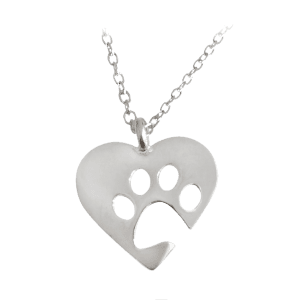 Cute Claw Footprint Heart Pendant Necklace - Silver