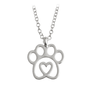 Claw Heart Footprint Pet Pendant Necklace - Silver - 5xl