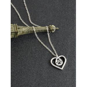 Heart Claw Footprint Teardrop Necklace - SILVER