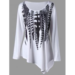 Plus Size Feather Pattern Asymmetric Tunic Top - White And Black - 3xl