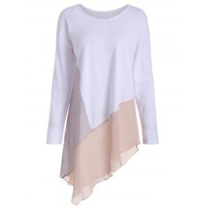 Asymmetric Long Sleeve Color Block Plus Size Tee