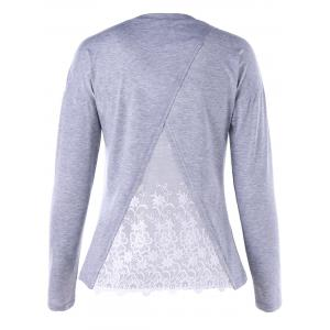 Embroidery Drop Shoulder Long Sleeve Top - Light Gray - L
