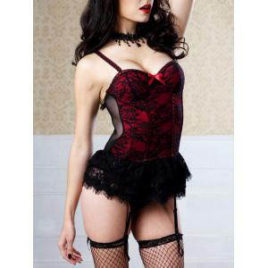 Cami Strap Lace Ruffles Padded Corset - RED 2XL