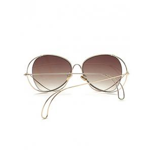 Anti UV Metallic Curve Surround Ombre Sunglasses - TEA-COLORED