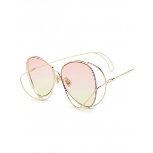 Anti UV Metallic Curve Surround Ombre Sunglasses - LIGHT PINK