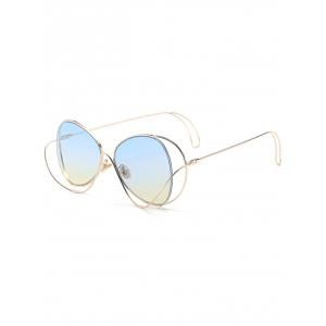 Anti UV Metallic Curve Surround Ombre Sunglasses - Light Blue