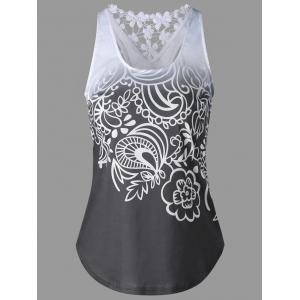 Lace Insert Ombre Printed Tank Top - Mouse Grey - 2xl