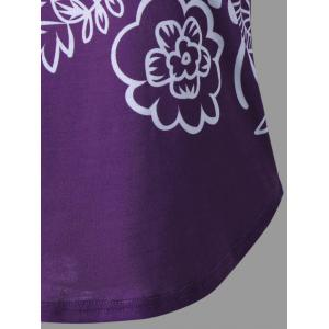 Lace Insert Ombre Printed Tank Top - PURPLE 2XL