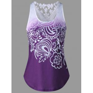 Lace Insert Ombre Printed Tank Top