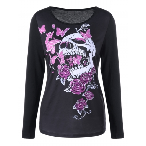 Skull and Butterfly Long Sleeve Top