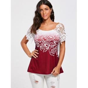 Floral Lace Trim Cutwork T-shirt - WINE RED 2XL