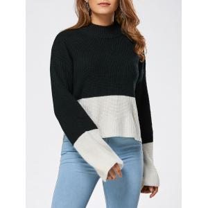 Drop Shoulder Two Tone High Low Sweater