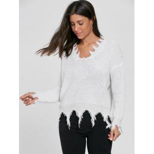 V Neck Distressed Sweater - WHITE ONE SIZE