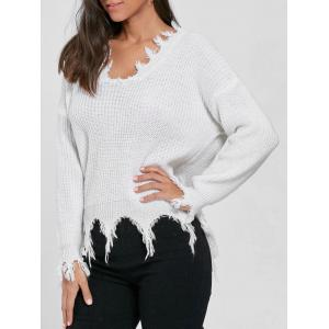 V Neck Distressed Sweater - White - One Size