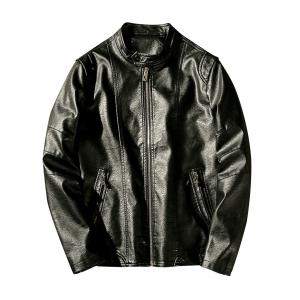 Stand Collar Zip Pockets Faux Leather Jacket