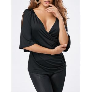 Plunging Neck Split Sleeve Wrap T-shirt