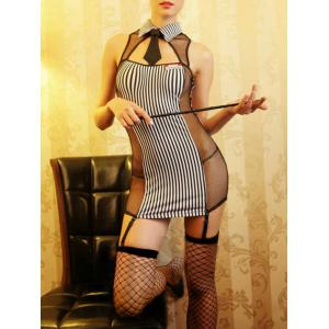 Striped Fishnet Sheer Teacher Cosplay Dress - Stripe - One Size