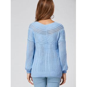 Casual Hollow Out Cable Knit Sweater - BLUE 2XL