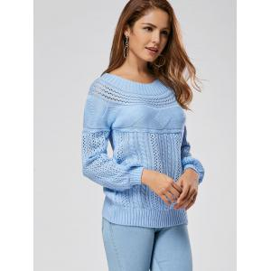 Casual Hollow Out Cable Knit Sweater - BLUE XL