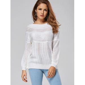 Casual Hollow Out Cable Knit Sweater - WHITE XL