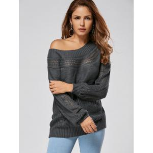 Casual Hollow Out Cable Knit Sweater - GRAY 2XL