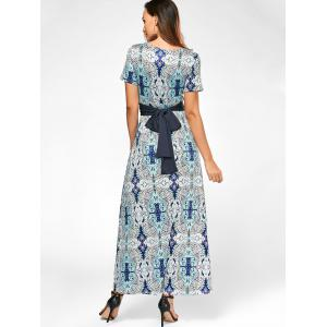 V Neck Maxi Printed Dress with Belt - COLORMIX S
