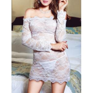 Off Shoulder Lace See Thru Lingerie Dress