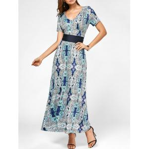V Neck Maxi Printed Dress with Belt