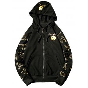 Front Pocket Smile Face Print Zip Up Hoodie