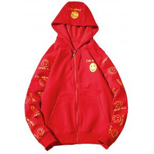 Front Pocket Smile Face Print Zip Up Hoodie - Red - S