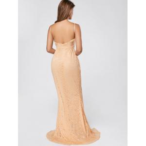 Slit Lace Slip Maxi Cocktail Party Dress - Abricot S