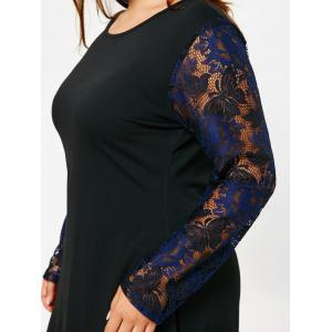 Lace Sleeve Plus Size High Low T-shirt Dress -