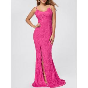 Slit Lace Slip Maxi Cocktail Party Dress - Rose Red - Xl