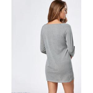 Long Sleeve Jersey Tunic Top - GRAY XL