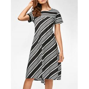 Casual Midi A Line Striped Dress