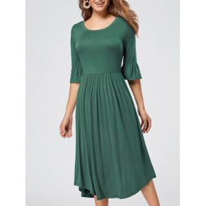 Ruffle Sleeve Jersey Midi Dress - Green - M