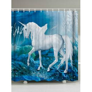 Dreamlike Unicorn Bath Shower Curtain with Hooks - Lake Blue - W71 Inch * L79 Inch