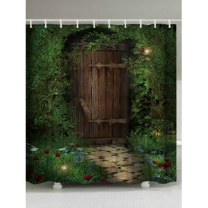 Fairy Forest Wood Door Printed Shower Curtain