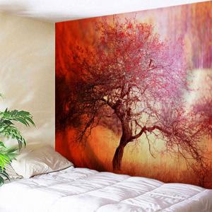 Branchy Tree Print Tapestry Wall Hanging Art Decoration - Orange Red - W59 Inch * L79 Inch