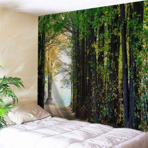 Forest Path Print Tapestry Wall Hanging Decoration - Green - W71 Inch * L91 Inch