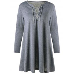 Long Sleeve Mini Shift Lattice Dress - Gray - Xl