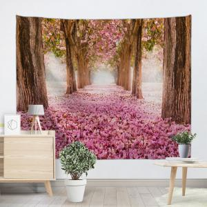 Sakura Scenery Throw Fabric Tapestry Wall Hanging - ROSE PÂLE W59 pouces*L79 pouces