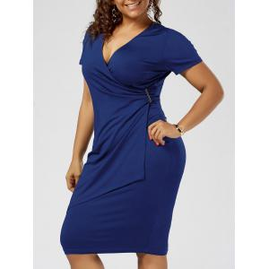 Plus Size Overlap Tight Surplice Work Dress - Blue - 2xl